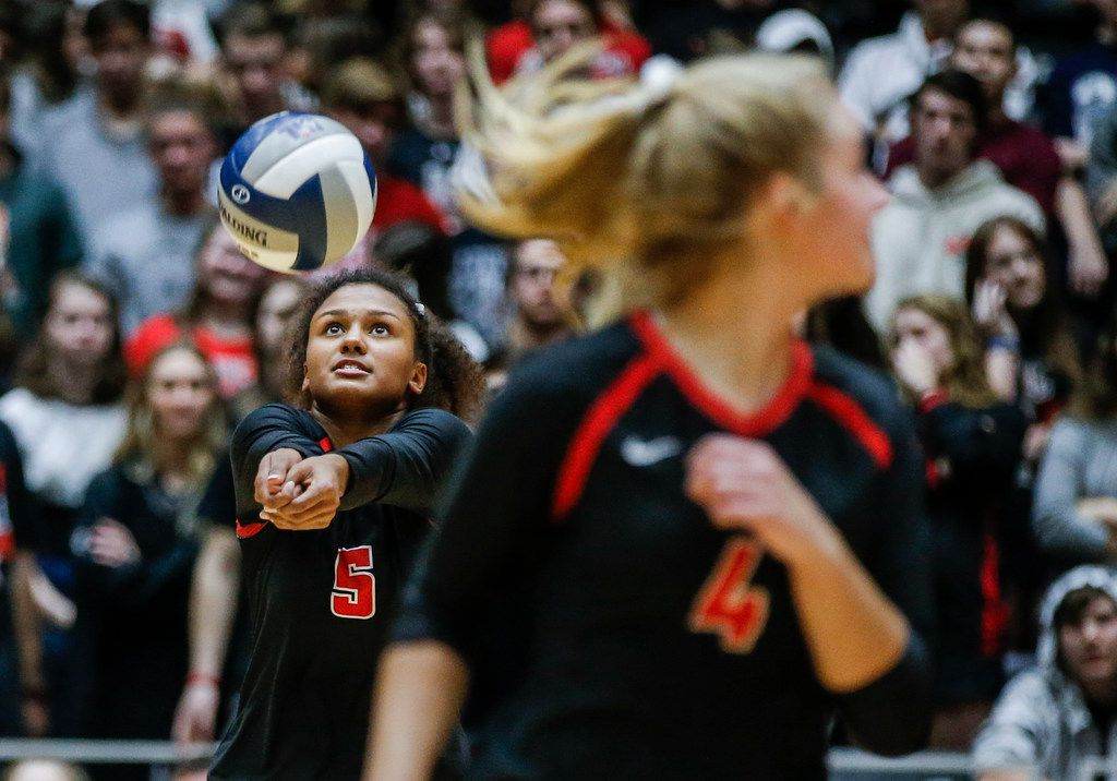 Lovejoy sophomore Cecily Bramschreiber (5) digs the ball during a Class 4A State Championship volleyball game against Kingwood Park at the Curtis Culwell Center in Garland, Texas, Saturday, November 17, 2018. Love Joy lost in the straight sets.  (Brandon Wade/Special Contributor)