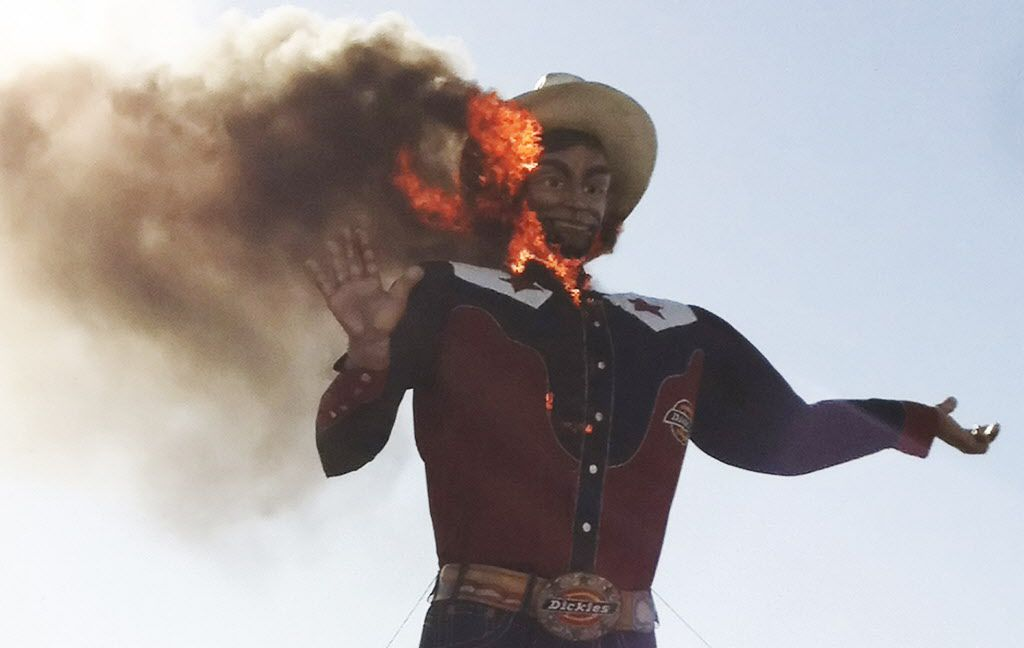 Of course, the image no one wants to remember: Big Tex on fire on Oct. 19, 2012.