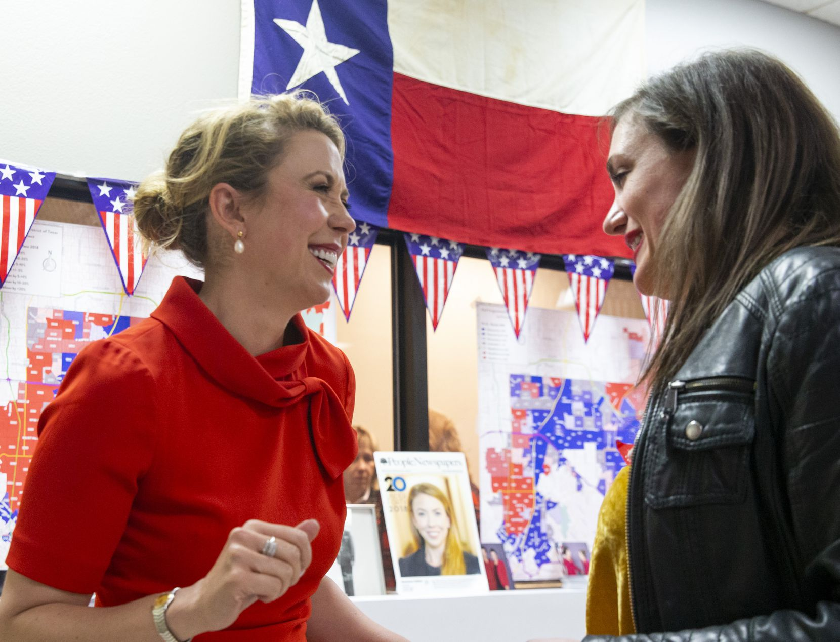 32nd Congressional District candidate Genevieve Collins (left) celebrated with her best friend, Allison Richie, after favorable results were announced during a primary election watch party at Collins' campaign headquarters in Dallas on March 3, 2020.