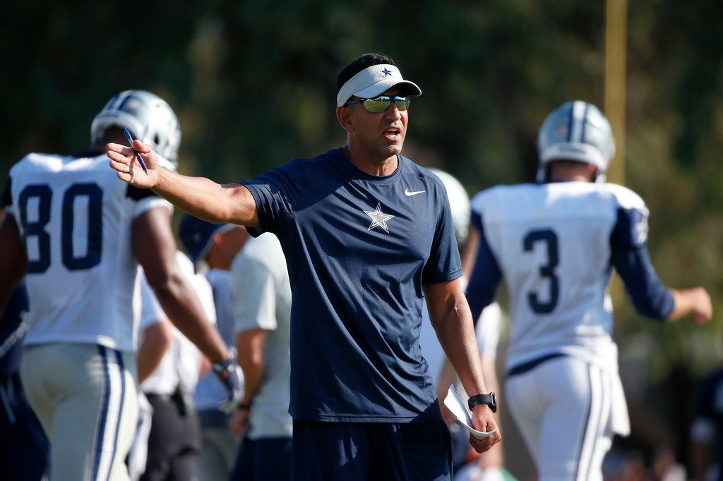 Dallas Cowboys wide receiver coach Sanjay Lal reacts after wide receiver K.D. Cannon runs in a wrong route during the afternoon practice at the training camp in Oxnard, Calif., Tuesday, July 31, 2018. (Jae S. Lee/The Dallas Morning News)