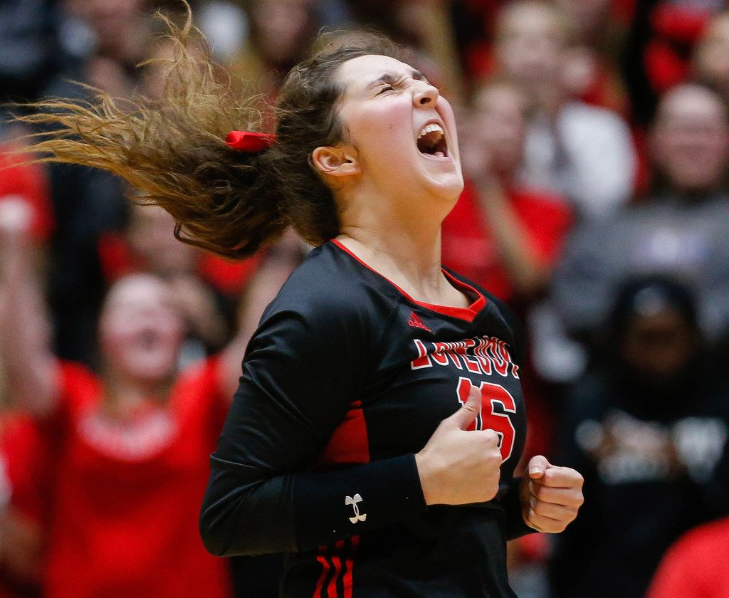 LovejoyÕs Emma Johnson (16) celebrates after scoring against Friendswood in the third set of a class 5A volleyball state semifinal match at the Curtis Culwell Center in Garland, on Friday, November 22, 2019. Lovejoy won the third set 25-18. (Juan Figueroa/The Dallas Morning News)
