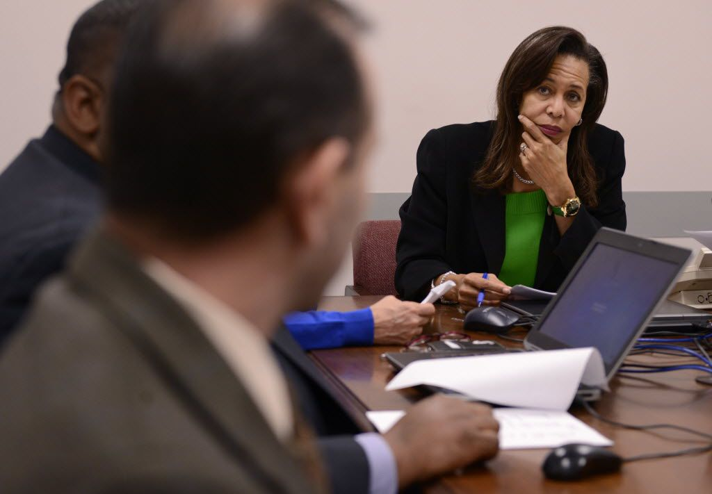 In this 2015 file photo, Terry Smith, executive director Dallas County Juvenile Department, listens to John Pita, deputy director of clinical services/chief psychologist, during a meeting at the Henry Wade Juvenile Justice Center in Dallas.