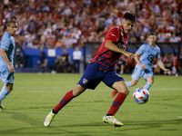 FC Dallas forward Ricardo Pepi (16) goes for a kick during the second half of a FC Dallas against Minnesota United game on Saturday, Oct. 2, 2021, at Toyota Stadium in Frisco.