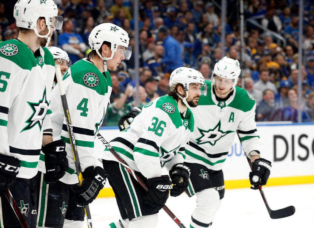 Stars center Mats Zuccarello (36) is congratulated by teammates after scoring a first period goal against the St. Louis Blues at the Enterprise Center in St. Louis, Tuesday, May 7, 2019. The teams were playing in the Western Conference Second Round Game 7 of the 2019 NHL Stanley Cup Playoffs. (Tom Fox/The Dallas Morning News)