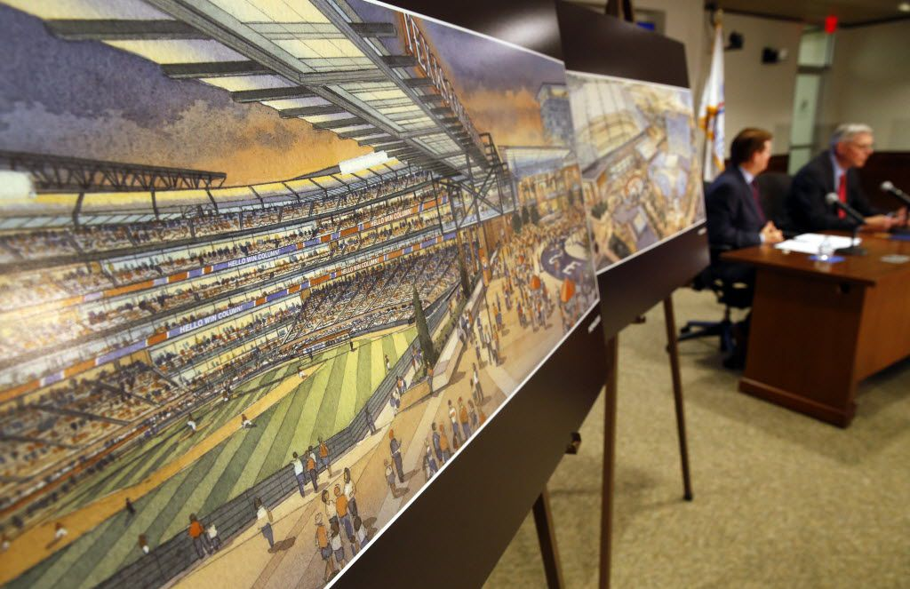 An artist's rendering of the proposed new ballpark was on display as Arlington Mayor Jeff Williams and Texas Rangers co-chairman Ray Davis unveiled plans for the stadium in May. (File Photo/Tom Fox)