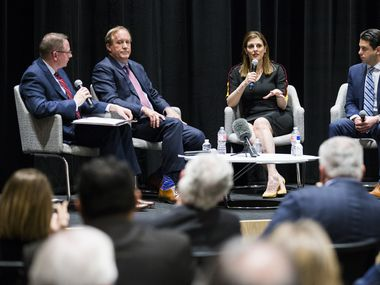 From left, The Dallas Morning News Vice President and Editor of Editorials Brandan Miniter, Attorney General Ken Paxton, U.S. Attorney Erin Newly Cox, and Trafficking Institute CEO Victor Boutros discuss changes in the way government is addressing sex trafficking on Wednesday, February 26, 2020 at The Dallas Morning News Auditorium in Dallas. (Ashley Landis/The Dallas Morning News)