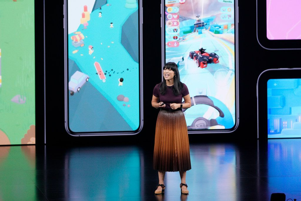 Apple's Ann Thai, manager for the App Store, announces new products.