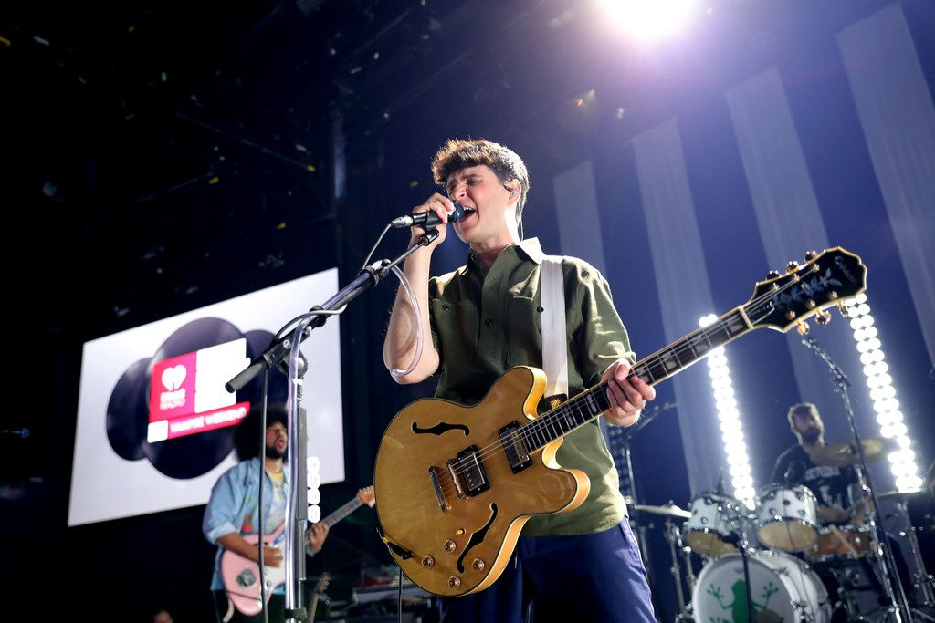 Ezra Koenig of Vampire Weekend performs on stage during the iHeartRadio Album Release Party at iHeartRadio Theater on May 09, 2019 in Burbank, California.