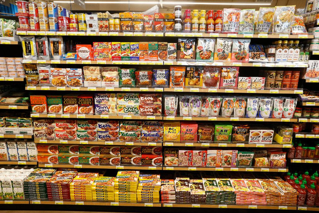 A selection of Japanese products on the shelves during the grand opening of the Mitsuwa Market place in Plano, Texas on April 14, 2017. (Nathan Hunsinger/The Dallas Morning News)