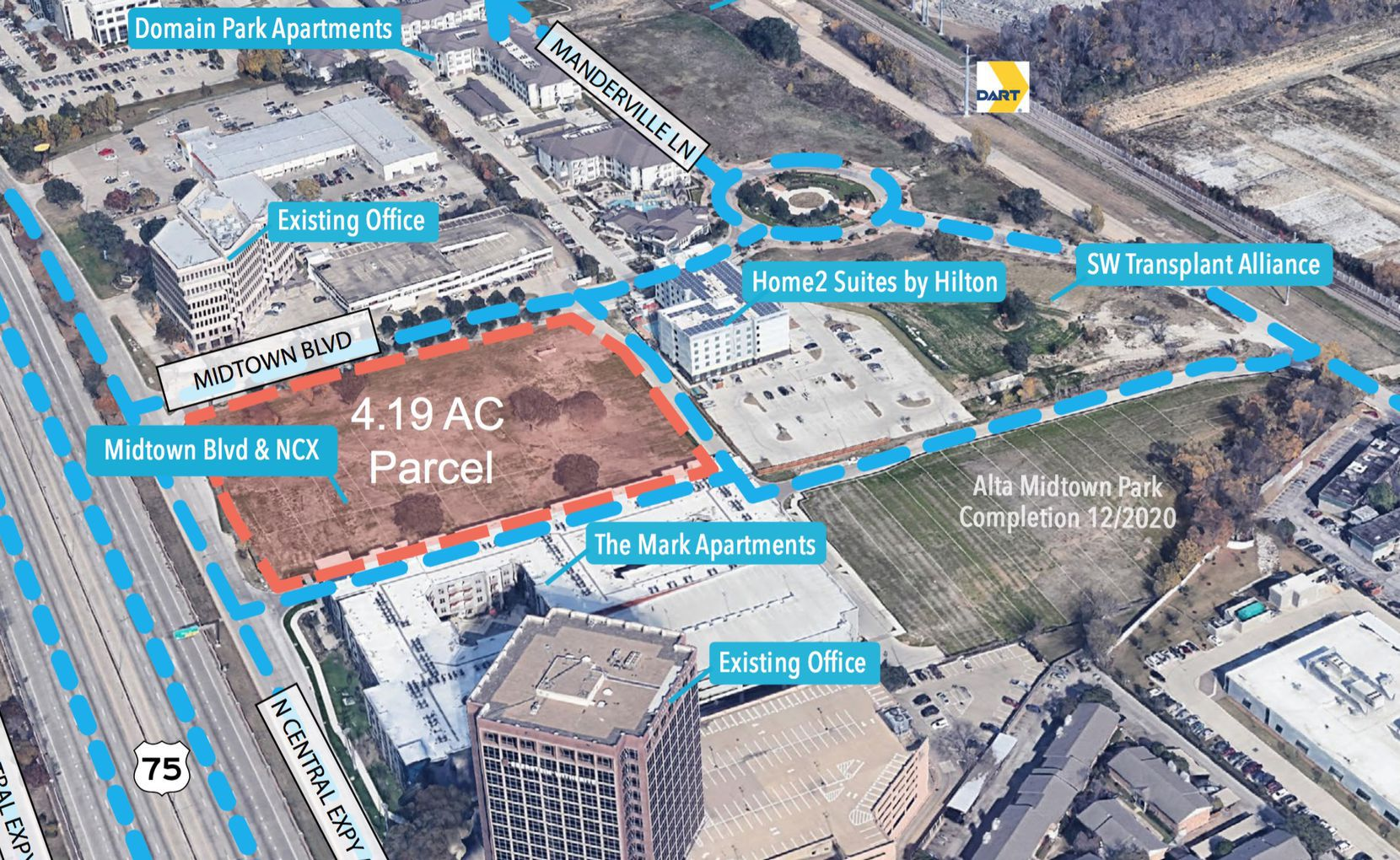 The more than 4-acre building site is just north of Meadow Road.