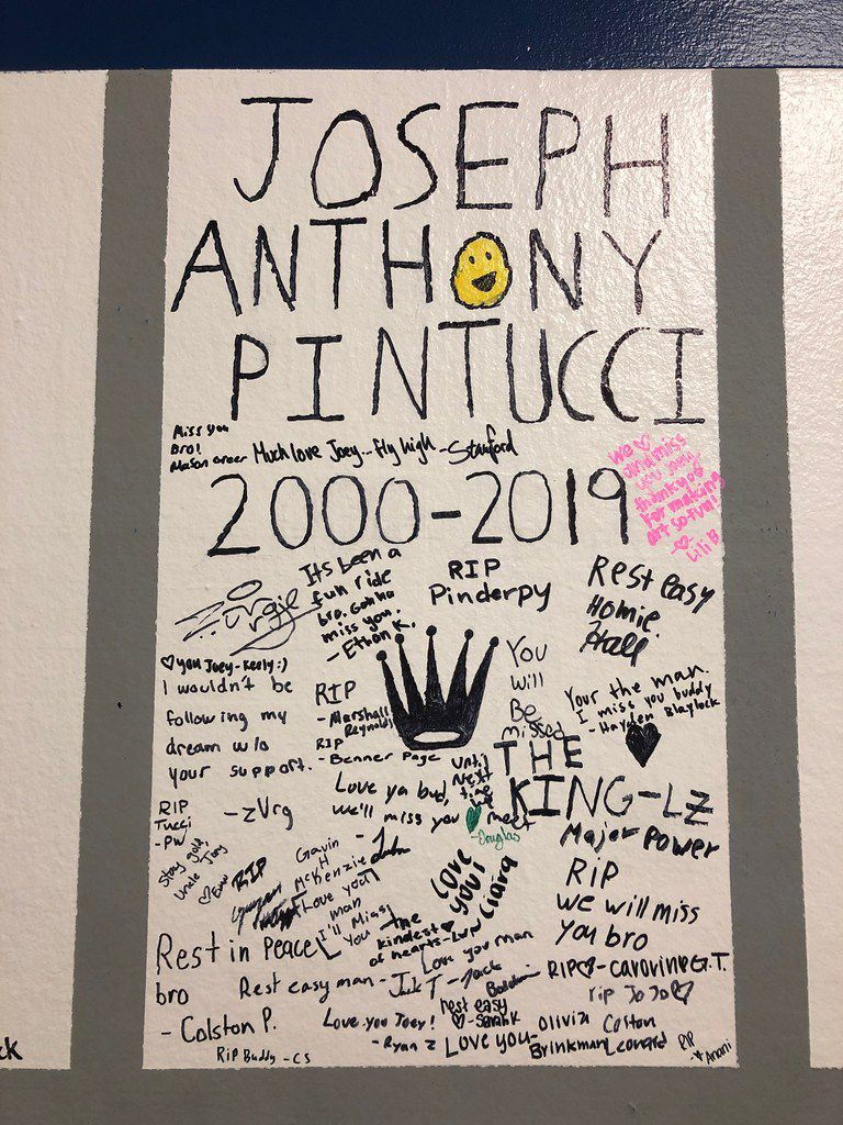 Students dedicated a spot on the senior wall to their former classmate, Joseph Anthony Pintucci. Pintucci was shot and killed late Thursday, Jan. 24.