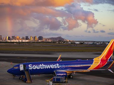 Southwest Airlines' first-ever flight to the Hawaiian Islands is shown on Feb. 5, 2019, at Daniel K. Inouye International Airport in Honolulu.