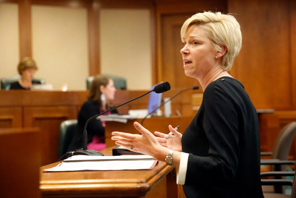 Rep. Sarah Davis of District 134 testifies on her House Bill 2453 before the House Human Services Committee. The bill relates to the operation and administration of Medicaid, including the Medicaid managed-care program.