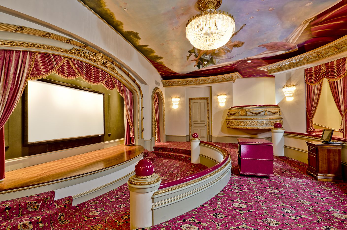 The movie theater in the Champ D'Or mansion.