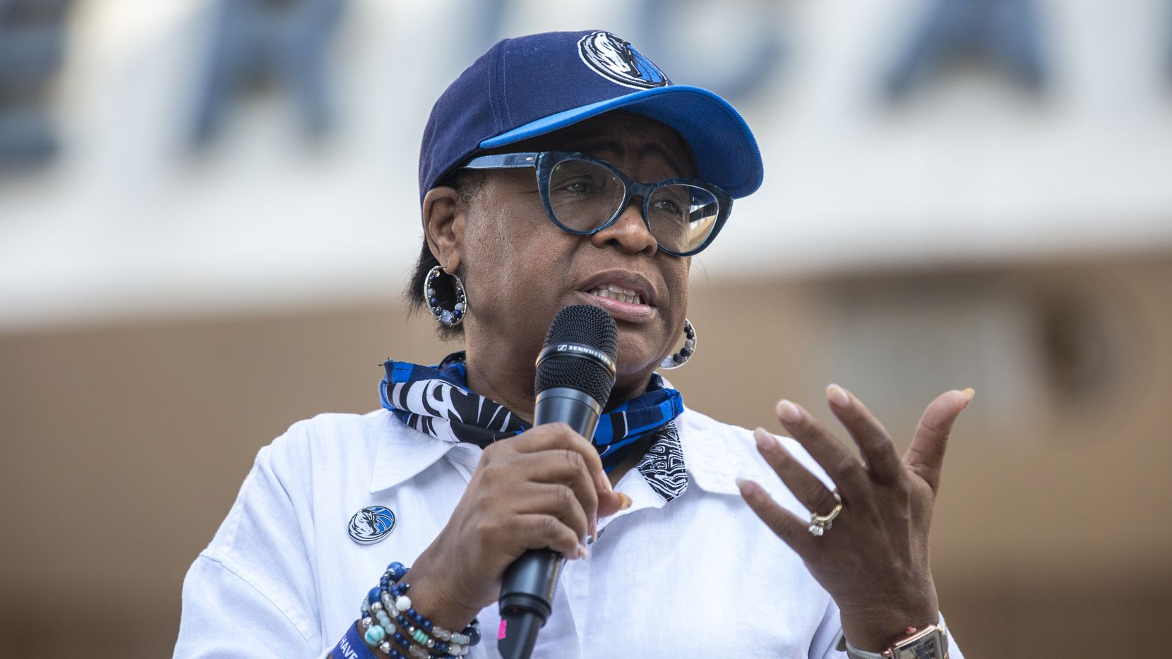 In this June 2020 file photo, Dallas Mavericks CEO Cynt Marshall welcomes attendees during a Courageous Conversations meet-up to discuss systemic racism at Victory Plaza outside the American Airlines Center. The NBA organization recently said it's partnering with Paul Quinn College for the development of a new bachelor's program focused on leadership and sports management.