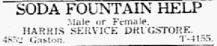 Classified ad posted in The Dallas Morning News on Feb. 6, 1946.