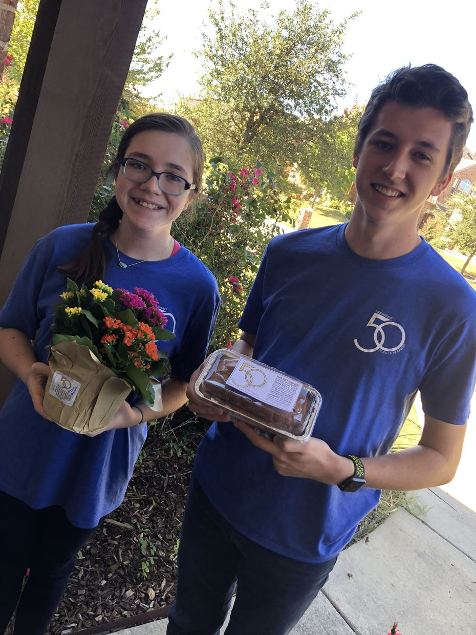 Katie and Cooper delivered flowers and pumpkin bread to friends on Nov. 4, in memory of their dad on his 50th birthday.