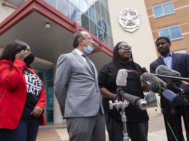 Dallas Police Oversight Coalition leader Changa Higgins (third from left) speaks along with other community activists and attorneys call for reform after a disappointing meeting with city officials of the Dallas Police HQ on Monday, June 1, 2020 in Dallas. From left are attorney Jasmine Crockett, Carlos Quintanilla, Higgins, and Dominique Alexander, president of Next Generation Action Network.