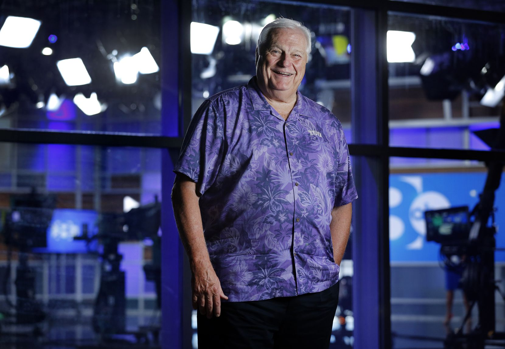 WFAA-TV sports anchor Dale Hansen stands outside the station's Victory Park studios in Dallas one week before his retirement.