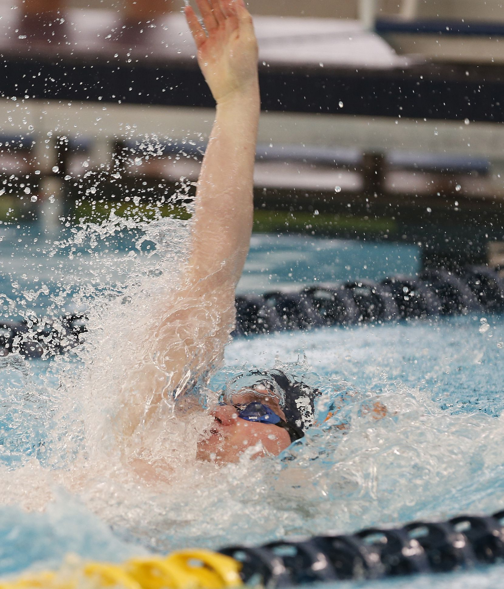 Jonathan MiChareis in backstroke for 200 yard Medley Relay. UIL boys 5A swim finals on Saturday, Feb.27,2021 at Bill Walker Pool and Josh Davis Natatorium