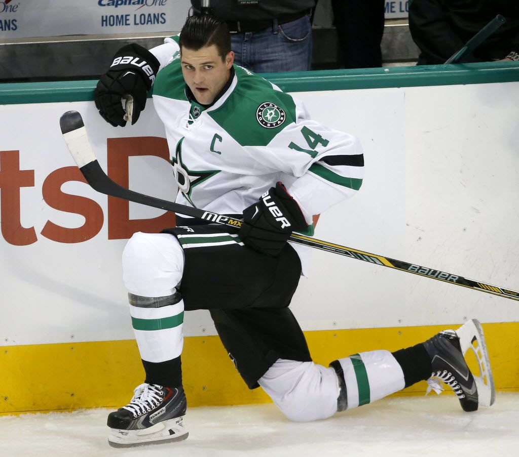Dallas Stars left wing Jamie Benn (14) stretches during the warm-up prior to the Arizona Coyotes game at American Airlines Center in Dallas, Thursday, March 31, 2016. (Jae S. Lee/The Dallas Morning News)