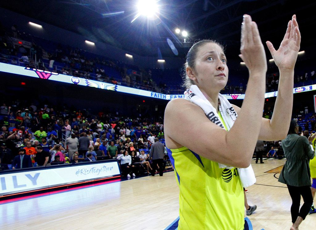 Dallas Wings center Theresa Plaisance (55) acknowledges the support of Wings fans in attendance following their 75-70 loss to the Las Vegas Aces. The two teams played their WNBA game at College Park Center in Arlington on August 3, 2019. (Steve Hamm/ Special Contributor)