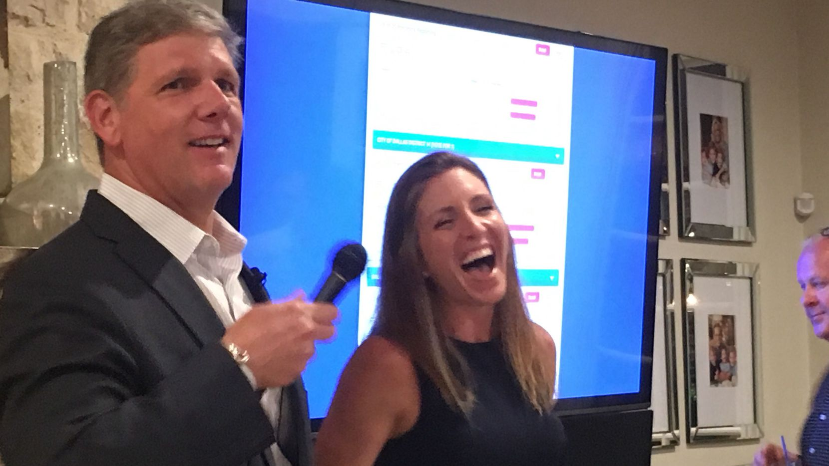 Dallas City Council District 14 candidate David Blewett and his wife Kristin celebrate as results come in from a runoff election on June 8, 2019. Blewett beat three-term incumbent Philip Kingston for the District 14 seat, which covers parts of downtown, Oak Lawn, East Dallas, Deep Ellum and Uptown.