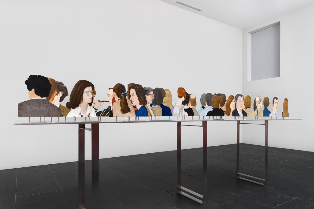 Alex Katz's One Flight Up, a 1968 oil-on-metal piece, makes viewers feel as if they're looking down on a cocktail party,