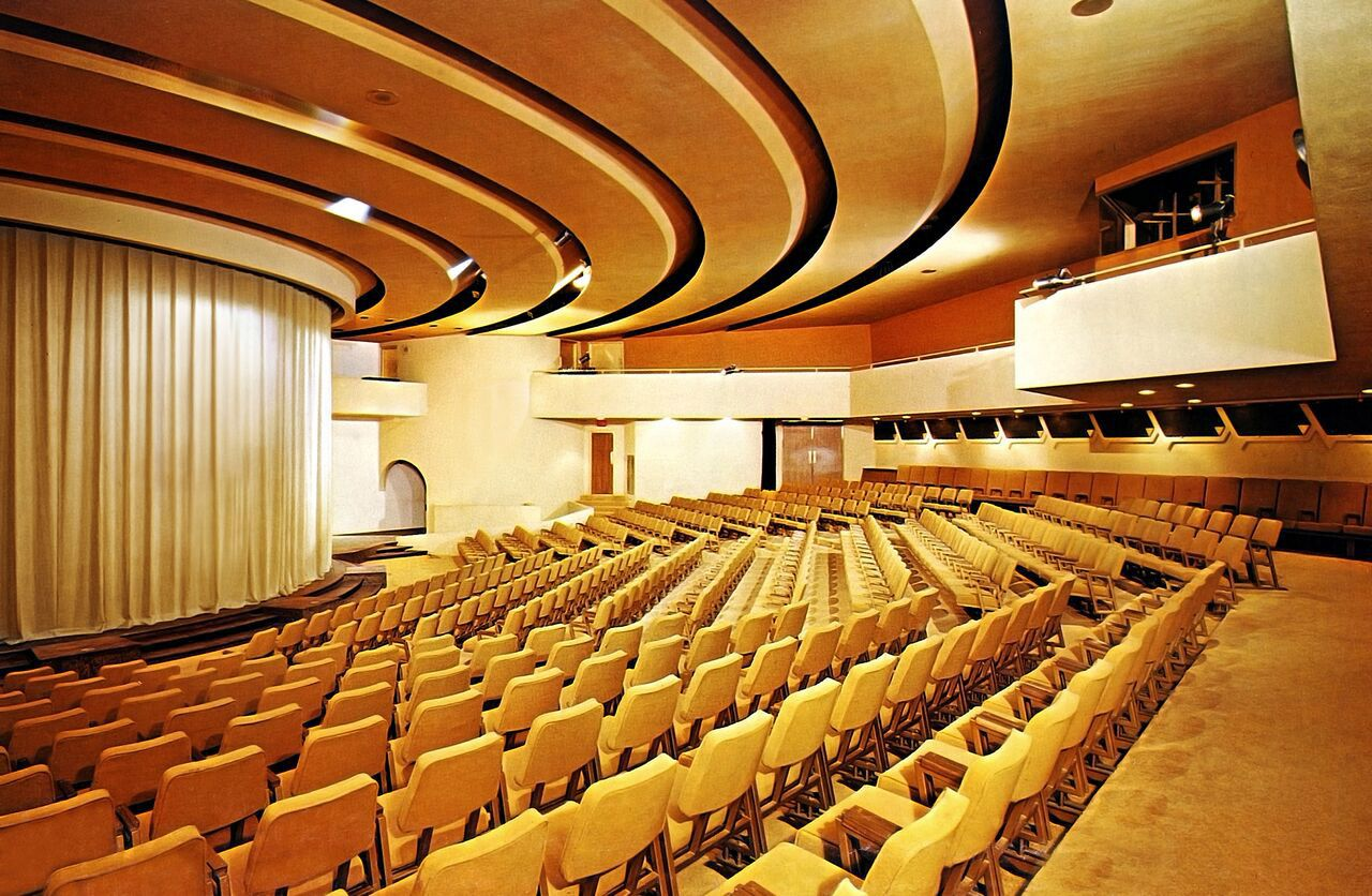 This 1960s-era photograph shows the Kalita Humphreys Theater performance space in its original gold color.