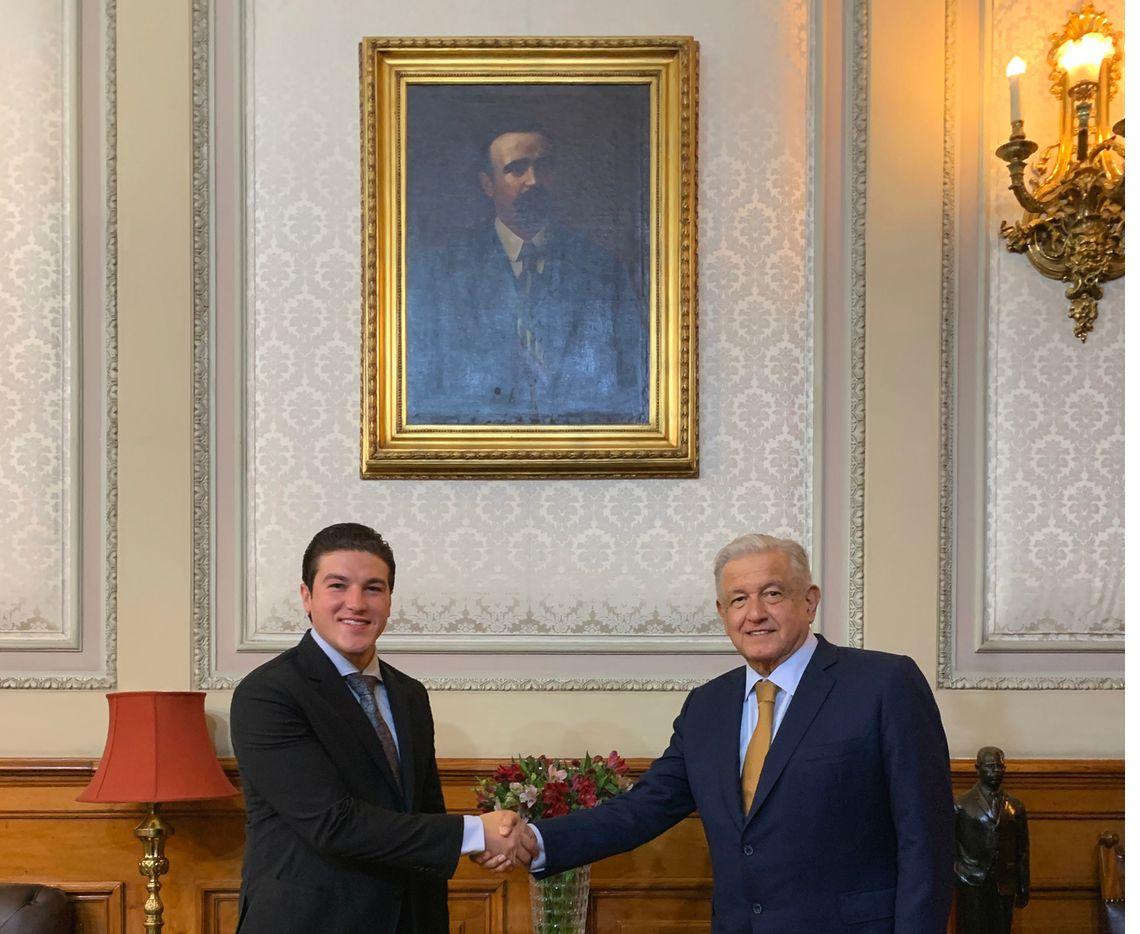 El gobernador electo de Nuevo León, Samuel García se reunió por primera vez con el presidente Andrés Manuel López Obrador, en el Palacio Nacional de la Ciudad de México, el 7 de julio de 2021.