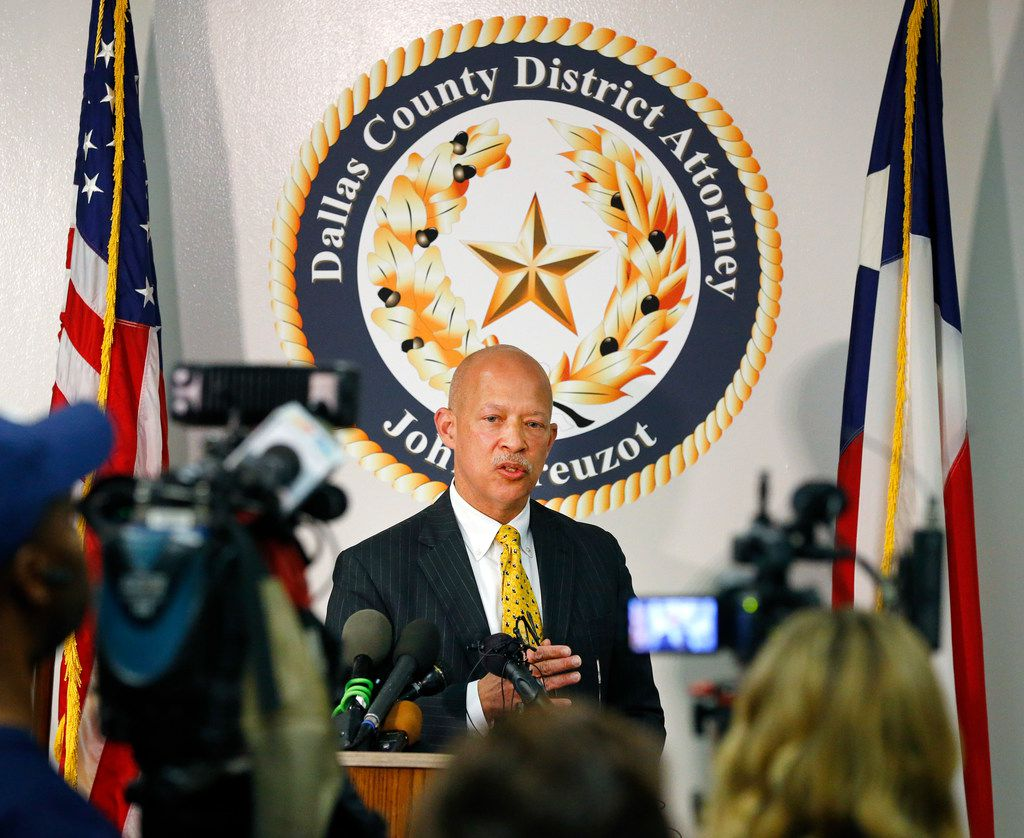 "District Attorney John Creuzot held a news conference at the Frank Crowley Courts Building in Dallas, a day after he announced that Dallas County will move away from ""criminalizing poverty."" He outlined a reform plan to decriminalize low-level crimes and decrease the use of excessive probation and bail."