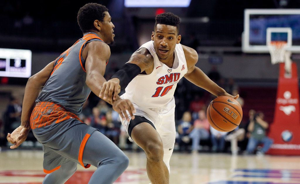 SMU junior guard Jarrey Foster (10) battles UT Rio Grande Valley sophomore guard Xavier McDonald Jr. (25) for space during the first half of an NCAA college basketball game at Southern Methodist University, Tuesday, November 28, 2017. (Brandon Wade/Special Contributor)
