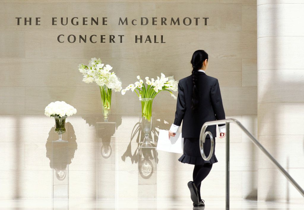 """Mourners arrived at the Eugene McDermott Concert Hall at the Morton H. Meyerson Symphony Center in Dallas for the memorial service of Dallas philanthropist Margaret McDermott on Tuesday, May 8, 2018. Born in Austin on Feb. 18, 1912, before the start of World War I, the University of Texas alumna began her post-collegiate years as a journalist, her byline showing up first in the """"Dallas Times Herald"""" and later """"The Dallas Morning News,"""" where she worked as society editor. She was 106 years old."""