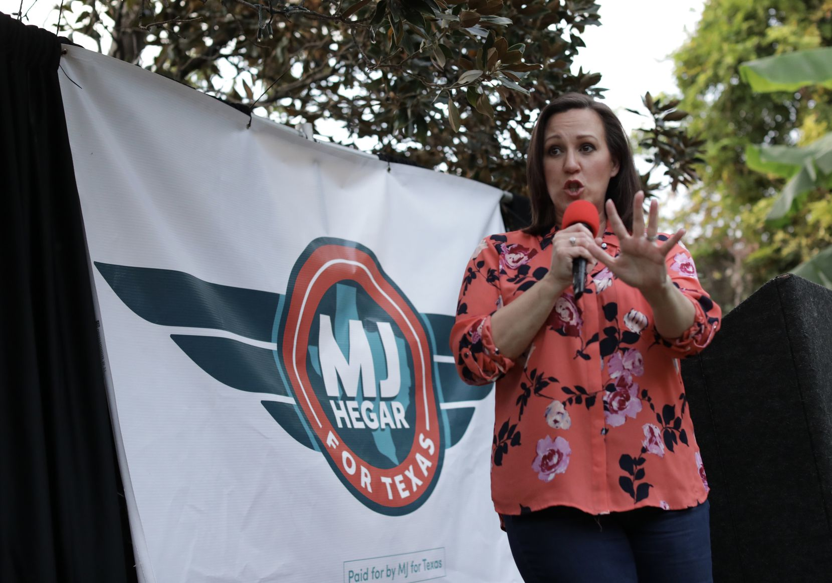 MJ Hegar speaks during a democrat party event at Los Vaqueros in Fort Worth, TX, on Oct. 18, 2020.  Jason Janik (special contributor)