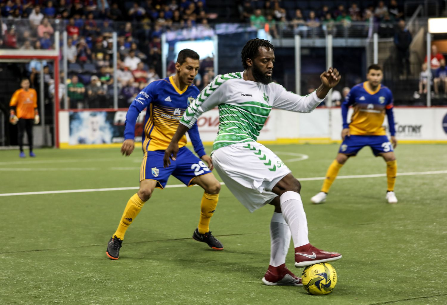 VcMor Eligwe tires to back down his Sockers defender. (3-24-19)