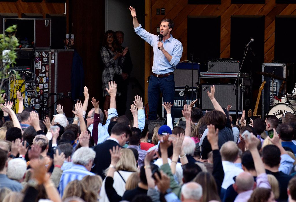 U.S. Senate candidate Beto O'Rourke spoke at The Rustic in Dallas in April.  Paul Quinn President Michael Sorrell, who Democrats recruited to run for governor, said Democratic gubernatorial candidate Lupe Valdez's presence on the ticket will have little impact on O'Rourke's effort to unseat Republican Ted Cruz.