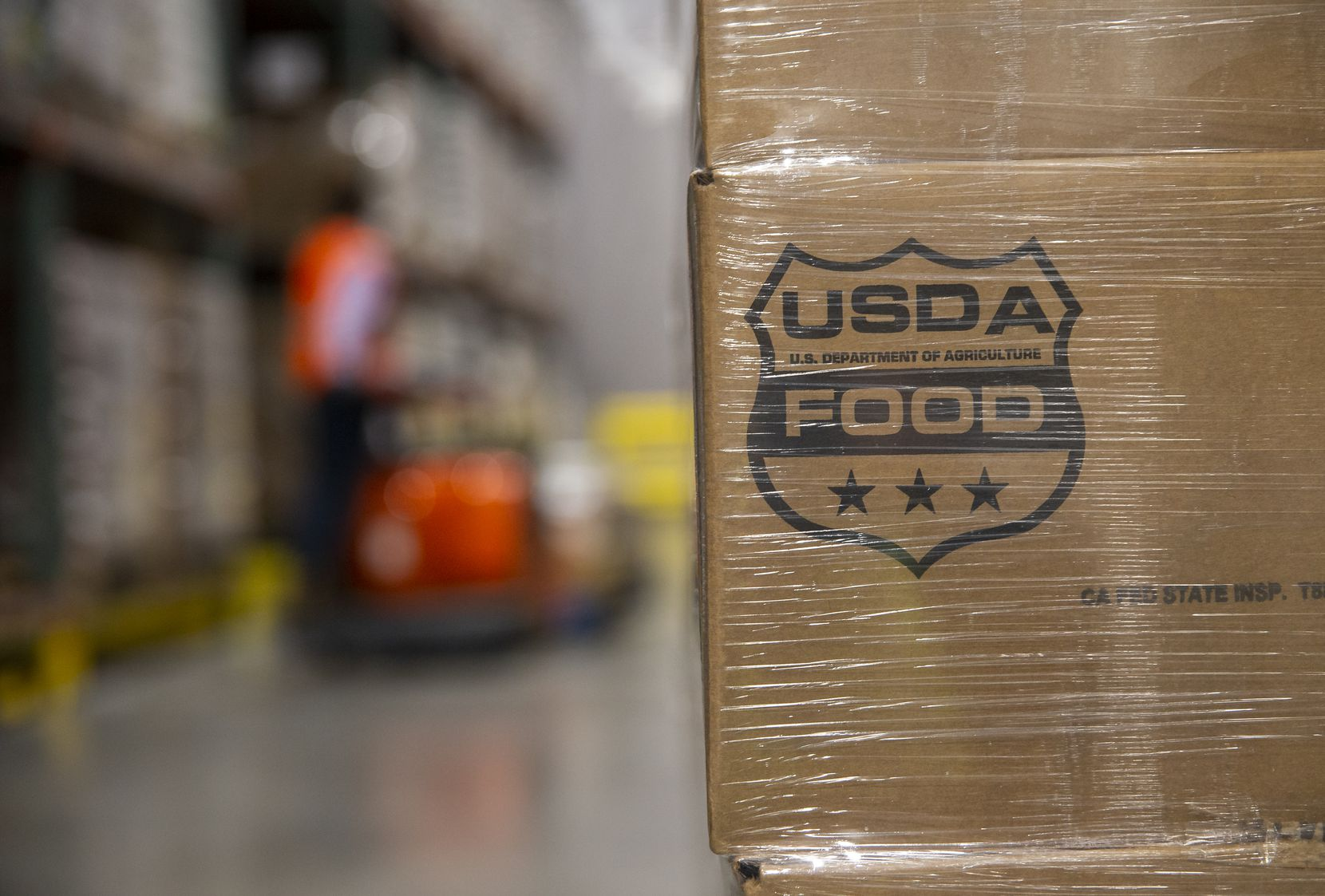 A pallet of English walnuts supplied by the USDA at the North Texas Food Bank on Feb. 6, 2020 in Plano.