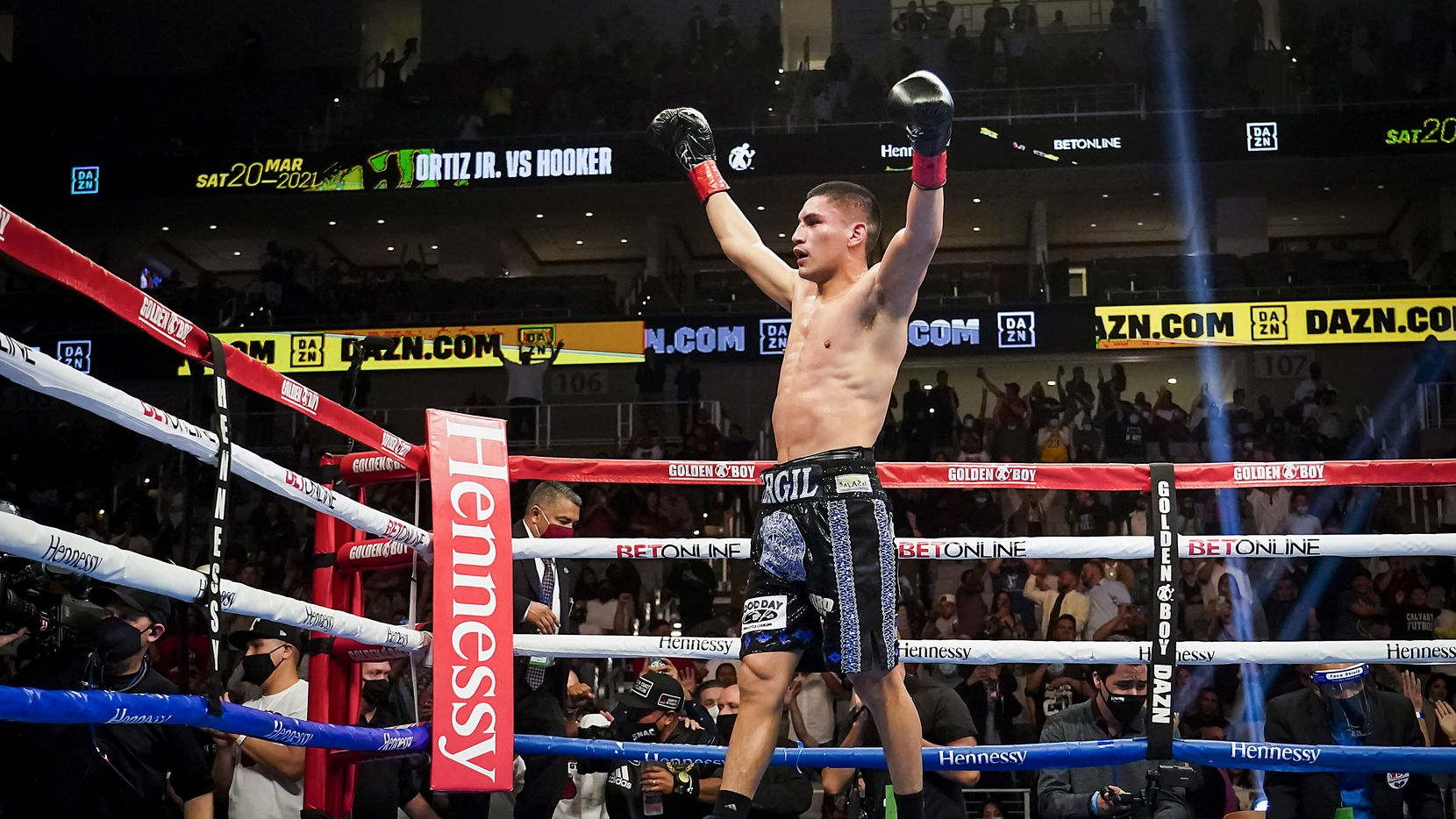 Vergil Ortiz Jr. celebrates after knocking out Maurice Hooker in the seventh round for the vacant WBO international welterweight title at Dickies Arena on Saturday, March 20, 2021, in Fort Worth.