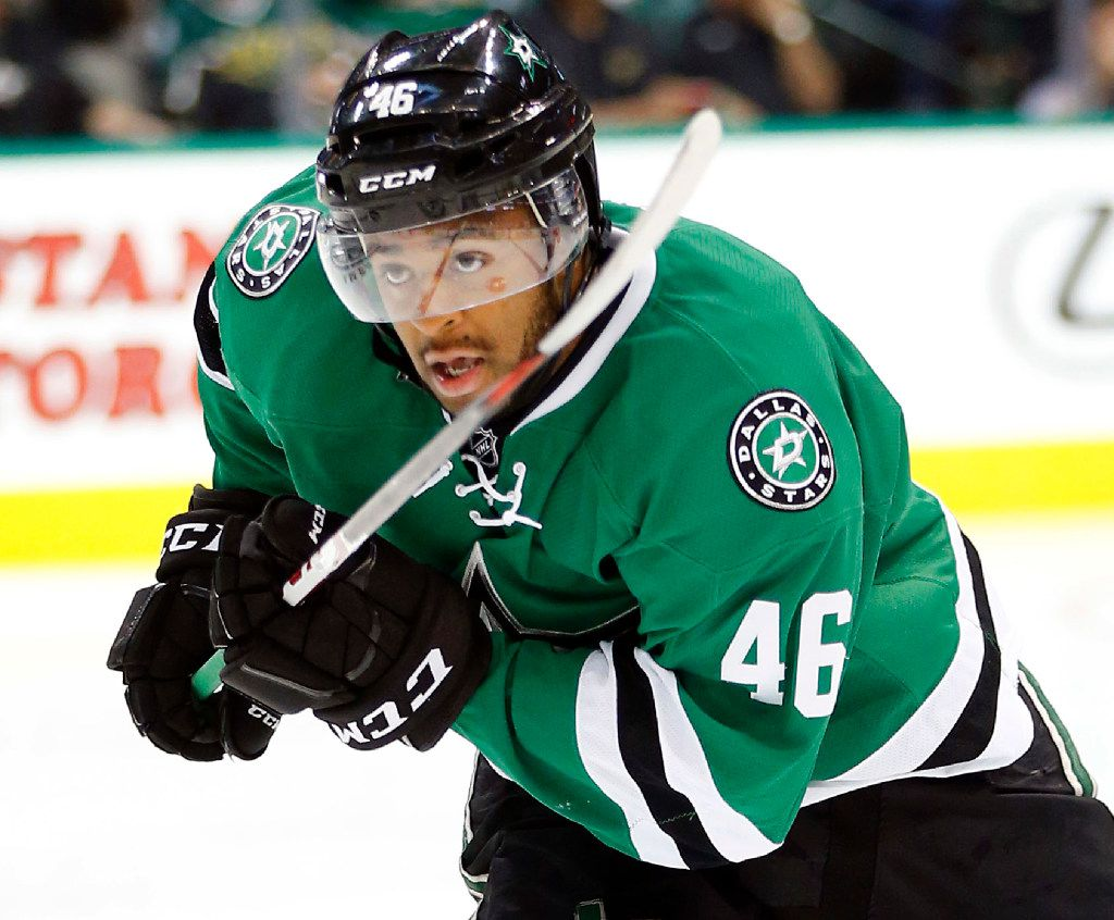 Dallas Stars center Gemel Smith (46) races up the ice against Florida Panthers in the second period at the American Airlines Center in Dallas, Tuesday, October 4, 2016. (Tom Fox/The Dallas Morning News)