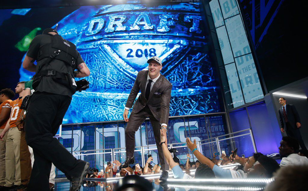 Dallas Cowboys pick Leighton Vander Esch during the first round of the NFL Draft at AT&T Stadium in Arlington, Texas, Thursday, April 26, 2018.