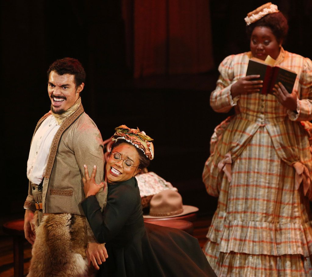 Yurel Echezarreta (left), playing Diego, Kenita R. Miller (center), playing Miss Cabbagestalk, and Ashley D. Kelley (right), playing Bella in Bella: An American Tall Tale for  the Dallas Theater Center at the Wyly Theatre in Dallas through Oct. 22, 2016. The musical will be produced at Playwrights Horizons in New York in May 2017.