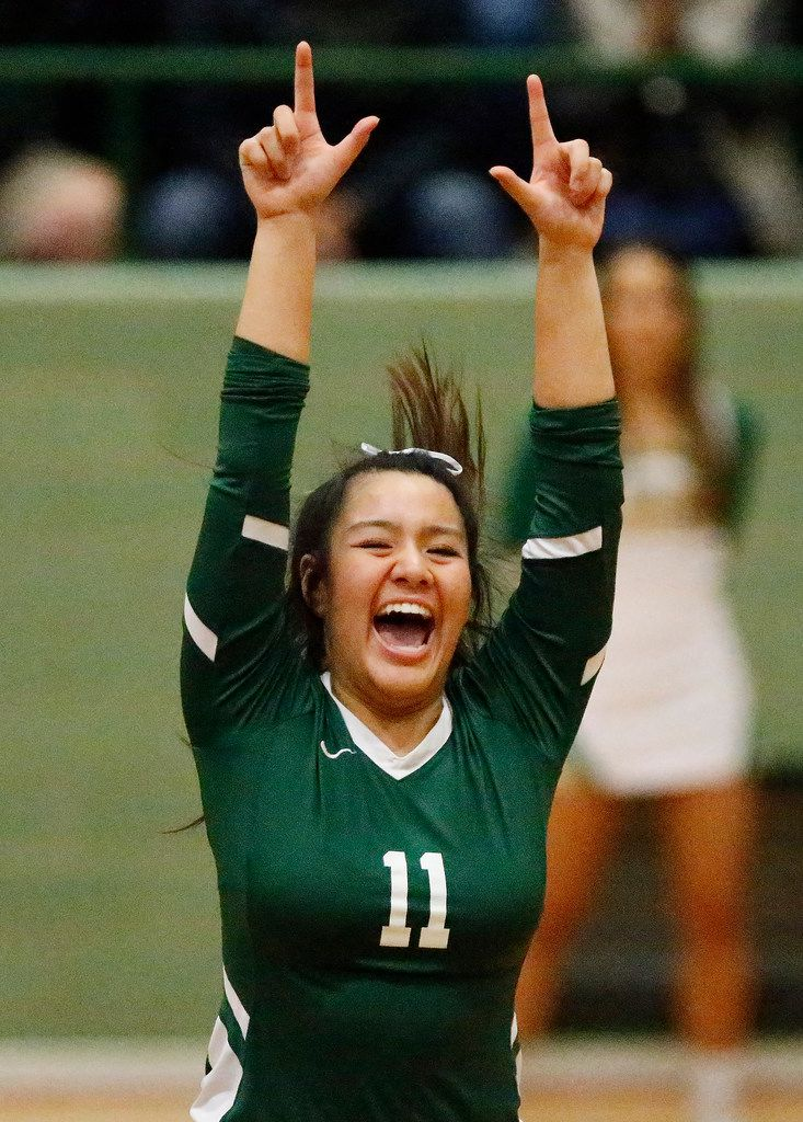 Lebanon Trail High School setter Xuan Nguyen (11) celebrates a point during game one as Lebanon Trail High School played Highland Park High School in a Class 5A Region II quarterfinal match played at Richardson Berkner High School on Monday night, November 12, 2019. (Stewart F. House/Special Contributor)