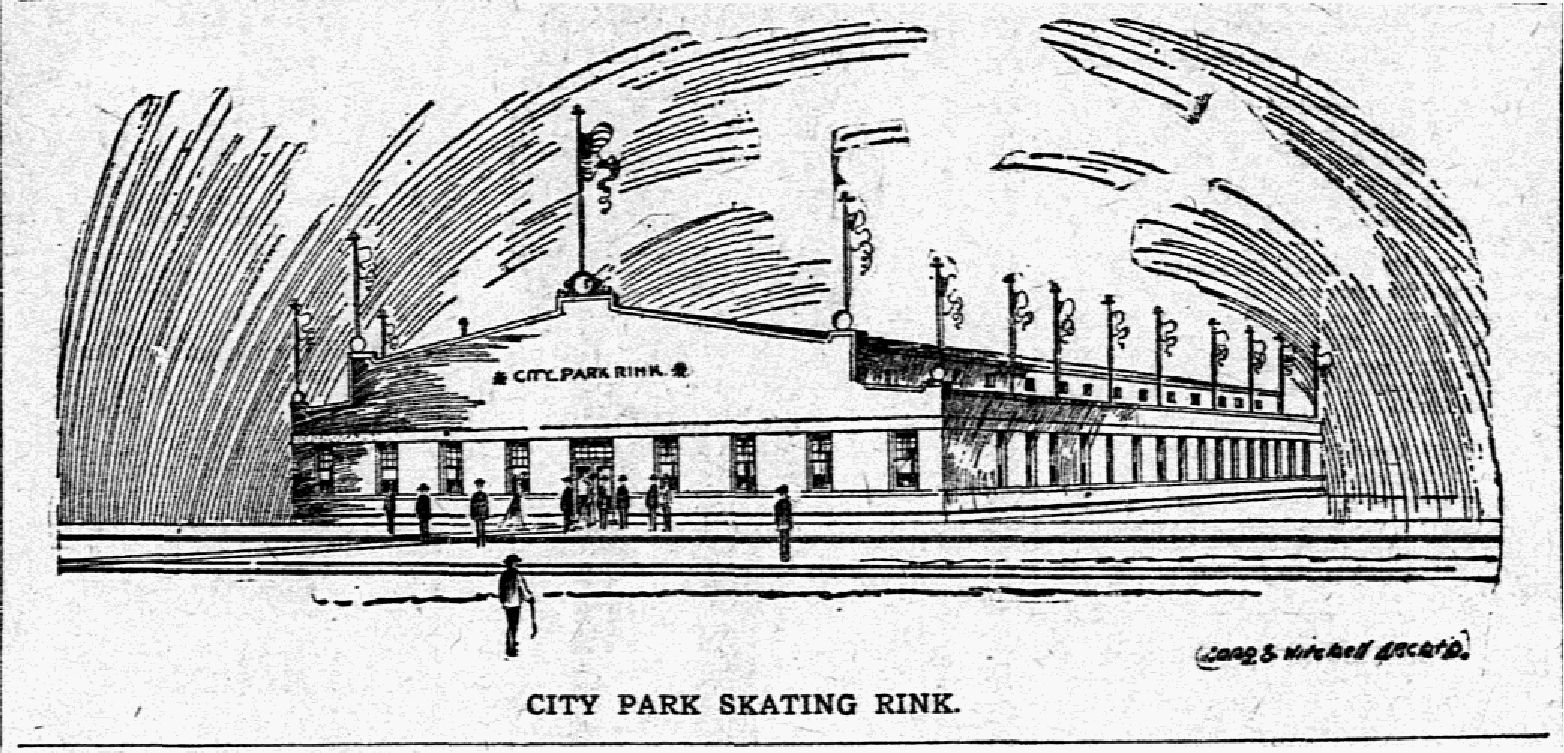 Illustration of City Park Skating Rink from the Dec. 30, 1905, issue of The Dallas Morning News.
