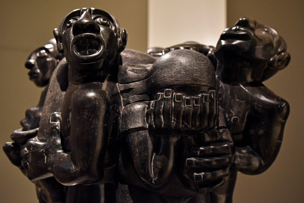 """Mourning for Zapata,"" veined black Veracruz marble from 1957 by Francisco Arturo Marin, is part of the ""Mexico 1900-1950"" exhibition at the Dallas Museum of Art."