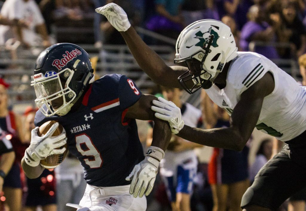 Denton Ryan running back Emani Bailey (9) runs across the goal line for a touchdown as Mesquite Poteet linebacker Dez Bridgeford (5) catches up to him during the first half of a high school football game between Mesquite Poteet and Denton Ryan on Friday, September 8, 2017 at Collins Athletic Complex in Denton, Texas. (Ashley Landis/The Dallas Morning News)