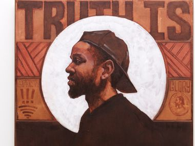 A detail of artists Riley Holloway's self-portrait in 'Truth Is.'