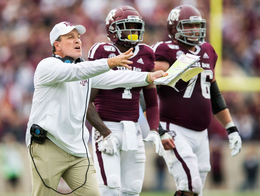 FILE - Texas A&M head coach Jimbo Fisher disputes a call during the first quarter of a game against Alabama on Saturday, Oct. 12, 2019, at Kyle Field in College Station.