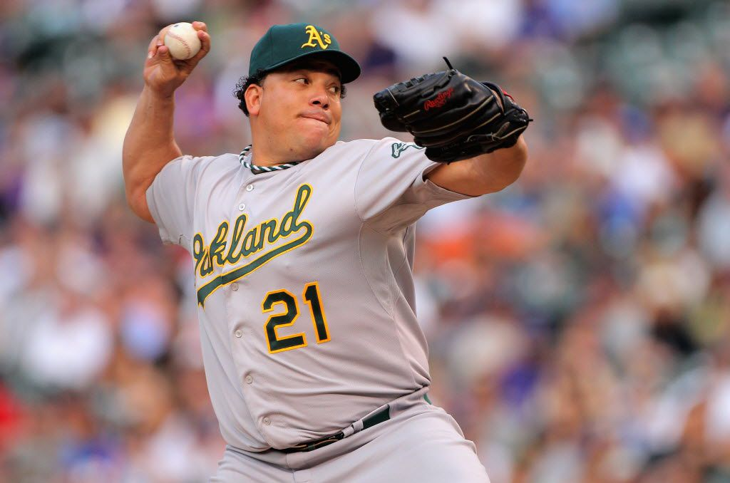 FILE - AUGUST 22, 2012:  It was reported that pitcher Bartolo Colon of the Oakland Athletics was suspended for 50 games after testing positive for testosterone August 22, 2012. DENVER, CO - JUNE 12:  Starting pitcher Bartolo Colon #21 of the Oakland Athletics delivers against the Colorado Rockies during Interleague Play at Coors Field on June 12, 2012 in Denver, Colorado.  (Photo by Doug Pensinger/Getty Images) 08232012xSPORTS 08232012xBRIEFING