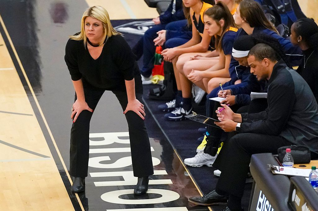 Prestonwood Christian head coach Holly Mulligan watches from the sidelines during a TAPPS 2-6A high school girls basketball game against the Bishop Lynch on Friday, Feb. 7, 2020, in Dallas. Bishop Lynch won the game 59-54. (Smiley N. Pool/The Dallas Morning News)