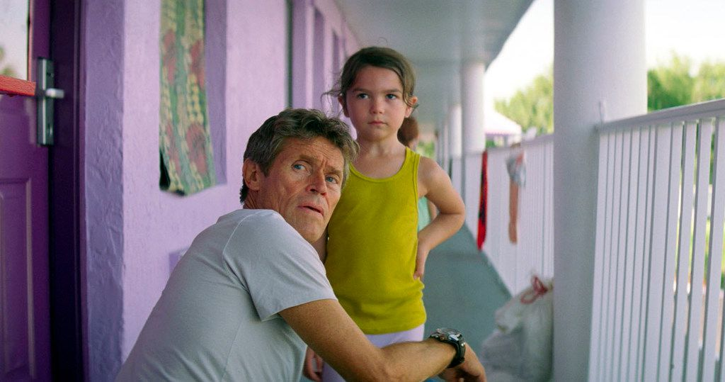 Willem Dafoe, left, and Brooklynn Prince in a scene from The Florida Project. Dafoe was nominated for a Golden Globe for best supporting actor in a motion picture for his role in the film.